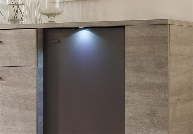 sideboard sidney kommode anrichte eiche grau anthrazit matt inkl led. Black Bedroom Furniture Sets. Home Design Ideas