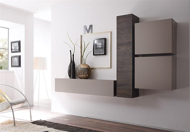 anbauwand wohnwand cube kombi 3 beige matt und eiche wenge ebay. Black Bedroom Furniture Sets. Home Design Ideas