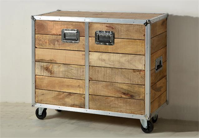 kommode roadies wohnzimmer schrank massivholz mango mit aluprofil und rollen ebay. Black Bedroom Furniture Sets. Home Design Ideas
