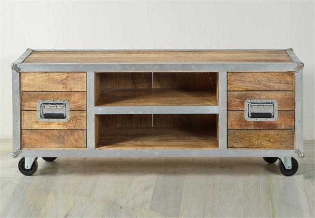 tv lowboard roadies wohnzimmer board massivholz mango mit aluprofil und rollen ebay. Black Bedroom Furniture Sets. Home Design Ideas