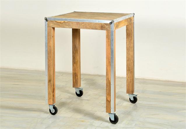 stehtisch roadies esszimmer tisch massivholz mango mit aluprofil und rollen 80cm ebay. Black Bedroom Furniture Sets. Home Design Ideas