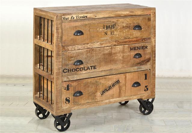 kommode rustic 90 wohnzimmer sideboard massivholz mango mit rollen ebay. Black Bedroom Furniture Sets. Home Design Ideas