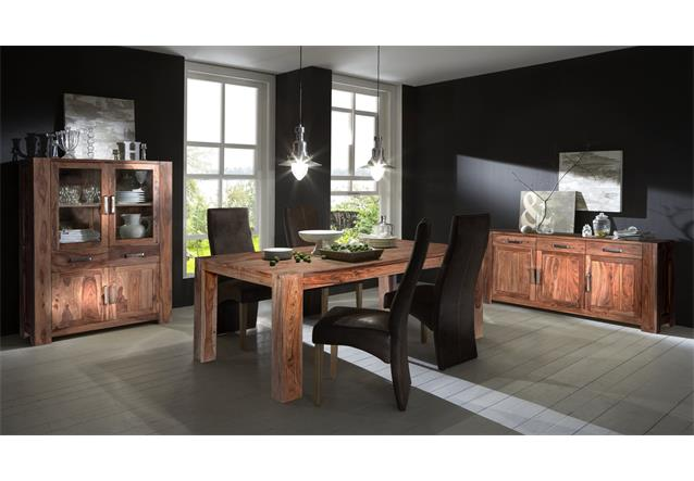 esszimmer set thor mit highboard sideboard und esstisch aus sheesham holz massiv ebay. Black Bedroom Furniture Sets. Home Design Ideas