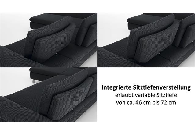 ecksofa dragon stoff anthrazit mit sitztiefenverstellung. Black Bedroom Furniture Sets. Home Design Ideas