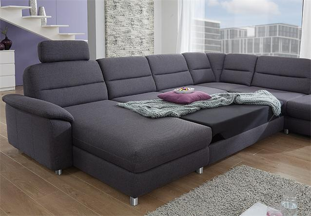 Ecksofa delano wohnlandschaft sofa in anthrazit mit for Ecksofa java