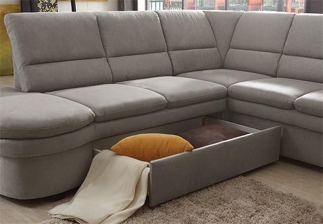 ecksofa ginger links sofa wohnlandschaft in grau mit. Black Bedroom Furniture Sets. Home Design Ideas