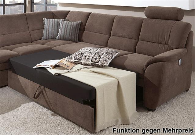 ecksofa ginger in stoff braun ottomane links 3 sitzer sofa rechts mit federkern ebay. Black Bedroom Furniture Sets. Home Design Ideas