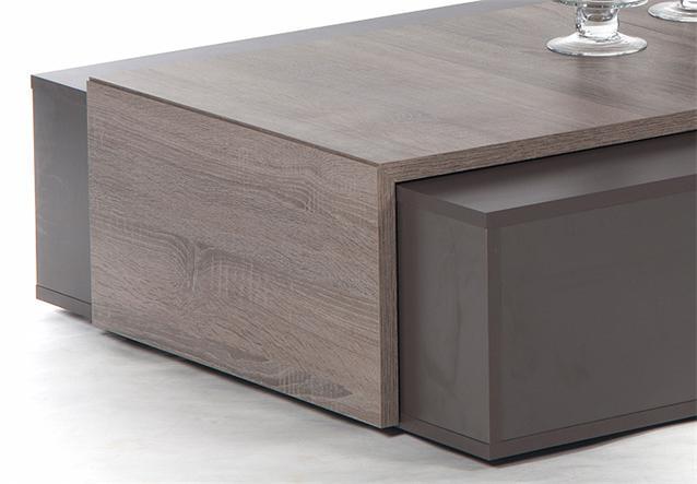 Tisch Eiche Sonoma Dunkel : 1x Couchtisch LOVE Dunkelbraun Dekor Melamin Front Sonoma dunkel Dekor