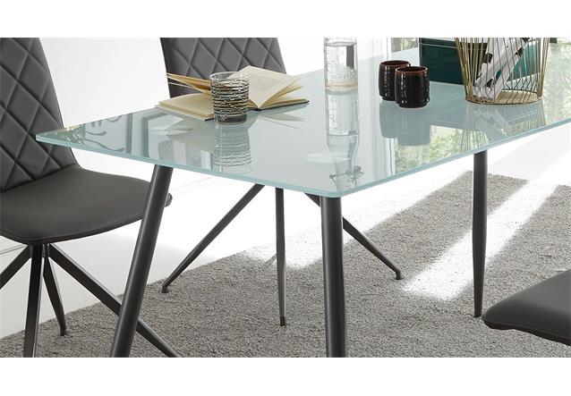 esstisch kasia tisch glasplatte sandgestrahlt gestell metall graphit 140x80 cm ebay. Black Bedroom Furniture Sets. Home Design Ideas