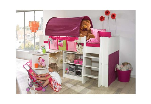 hochbett steens for kids bett regal tisch mdf wei textilien lila pink 90x200 cm ebay. Black Bedroom Furniture Sets. Home Design Ideas