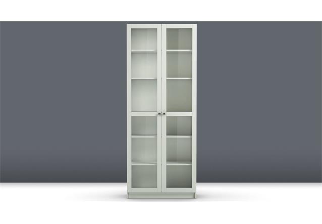 regal anette mit glast ren vitrine glasvitrine in wei schrank wohnzimmer ebay. Black Bedroom Furniture Sets. Home Design Ideas