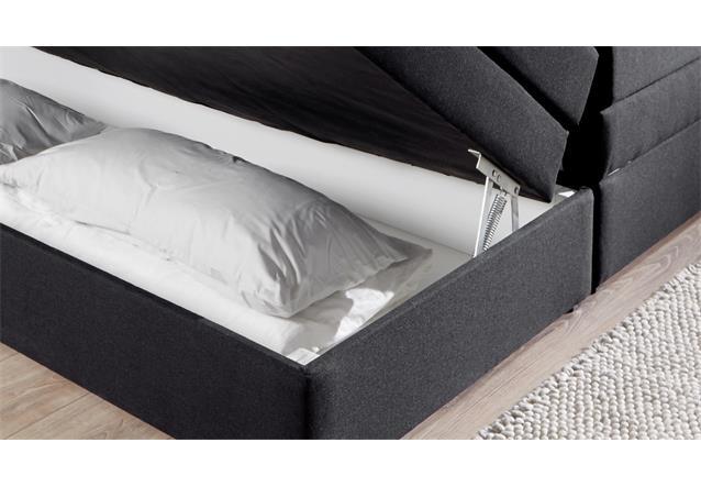 boxspringbett bx1090 hollywood stoff schwarz mit topper bettkasten 180x200 cm ebay. Black Bedroom Furniture Sets. Home Design Ideas
