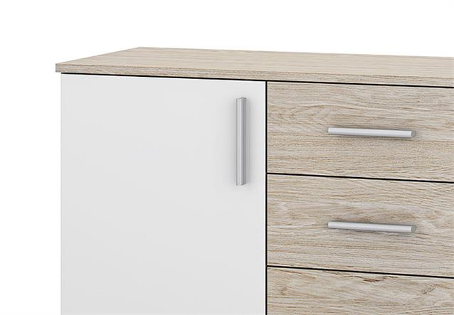 kommode ulm sideboard anrichte in eiche struktur und wei 2 t ren 4 schubk sten ebay. Black Bedroom Furniture Sets. Home Design Ideas