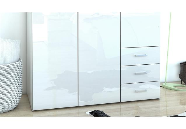 kleiderschrank suros schrank wei hochglanz 3 t ren 3 schubk sten h he 200 cm ebay. Black Bedroom Furniture Sets. Home Design Ideas