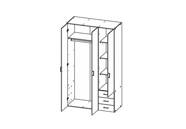 kleiderschrank suros schrank wei hochglanz 3 t ren 3 schubk sten h he 200 cm ebay. Black Bedroom Furniture Sets. Home Design Ideas