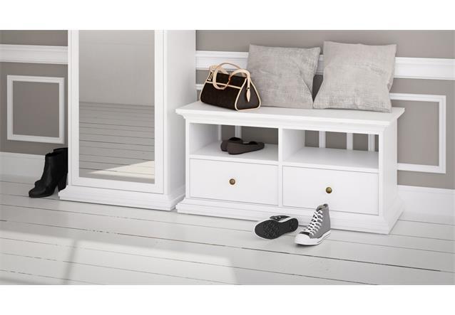 garderobe paris landhaus wei dielenschrank mit spiegel bank garderobenpaneel ebay. Black Bedroom Furniture Sets. Home Design Ideas