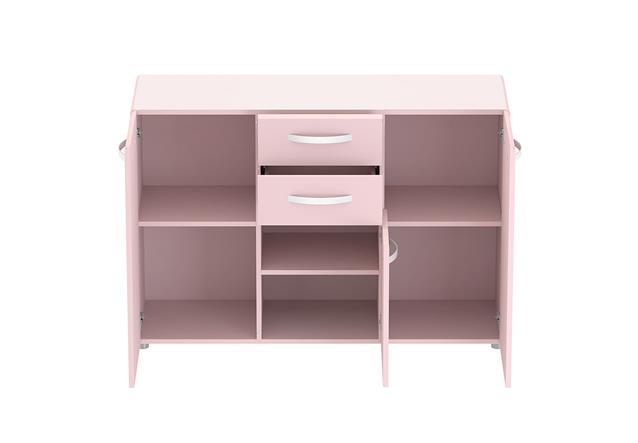sideboard 1 round anrichte kommode in rosa mit 3 t ren und 2 schubk sten ebay. Black Bedroom Furniture Sets. Home Design Ideas
