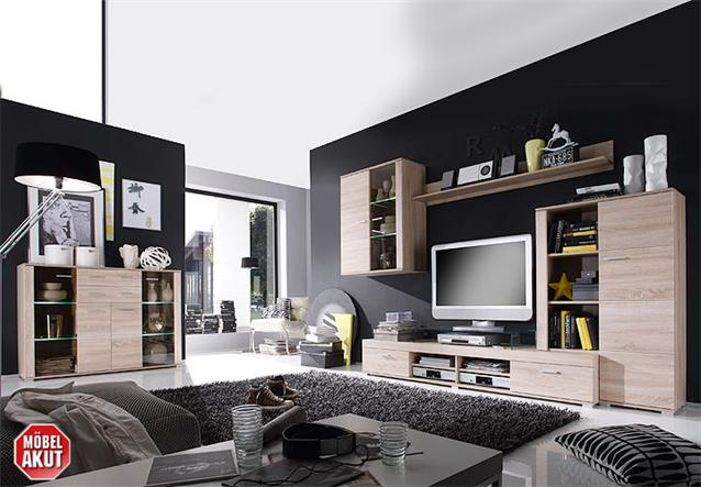 wohnwand trey anbauwand wohnzimmer sonoma eiche s gerau inkl led ebay. Black Bedroom Furniture Sets. Home Design Ideas