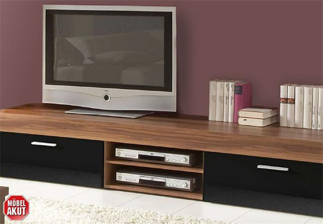 tv board formo lowboard unterteil kommode in nussbaum schwarz glanz neu ebay. Black Bedroom Furniture Sets. Home Design Ideas