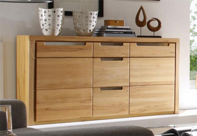 sideboard zino wohnzimmer schrank in kern buche massiv lamellen ebay. Black Bedroom Furniture Sets. Home Design Ideas