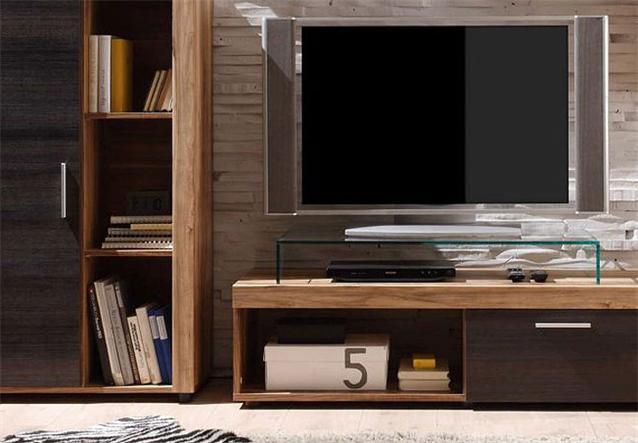 wohnwand cevius anbauwand nussbaum satin dunkel braun touchwood inkl beleuchtung ebay. Black Bedroom Furniture Sets. Home Design Ideas