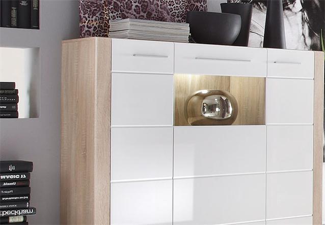 highboard tila sideboard kommode sonoma eiche s gerau hell wei hochglanz led ebay. Black Bedroom Furniture Sets. Home Design Ideas