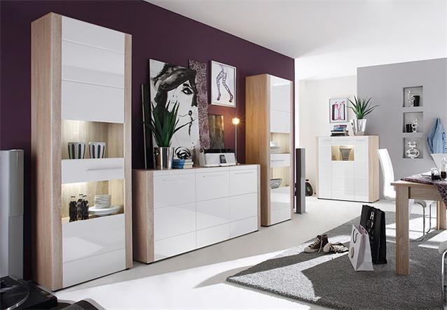 wohnkombi tila anbauwand wohnwand sonoma eiche s gerau hell wei hochglanz led ebay. Black Bedroom Furniture Sets. Home Design Ideas