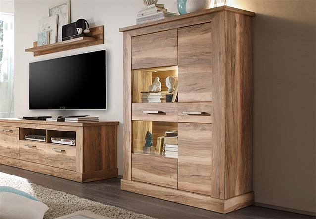 highboard 1 montreal schrank vitrine wohnzimmer in nussbaum satin ebay. Black Bedroom Furniture Sets. Home Design Ideas