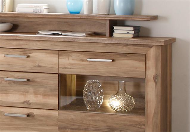 sideboard montreal anrichte in nussbaum satin mit aufsatz ebay. Black Bedroom Furniture Sets. Home Design Ideas