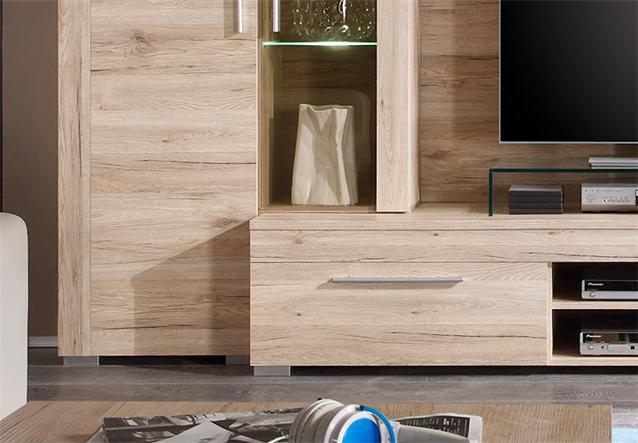 wohnwand boom anbauwand wohnzimmer in sanremo eiche hell mit beleuchtung ebay. Black Bedroom Furniture Sets. Home Design Ideas