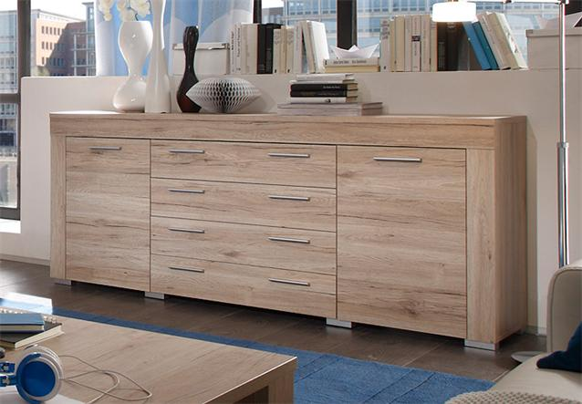 sideboard boom kommode anrichte schrank in sanremo eiche hell ebay. Black Bedroom Furniture Sets. Home Design Ideas
