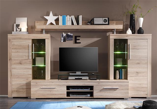 wohnwand 2 boom anbauwand wohnzimmer san remo eiche hell. Black Bedroom Furniture Sets. Home Design Ideas
