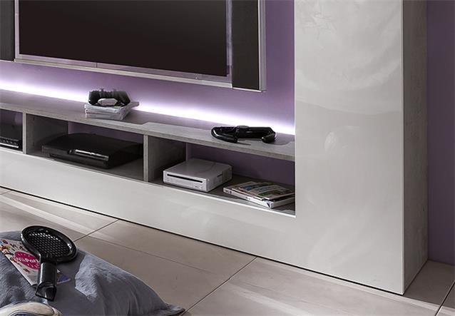 wohnwand speed anbauwand medienwand in beton industry und wei hochglanz ebay. Black Bedroom Furniture Sets. Home Design Ideas