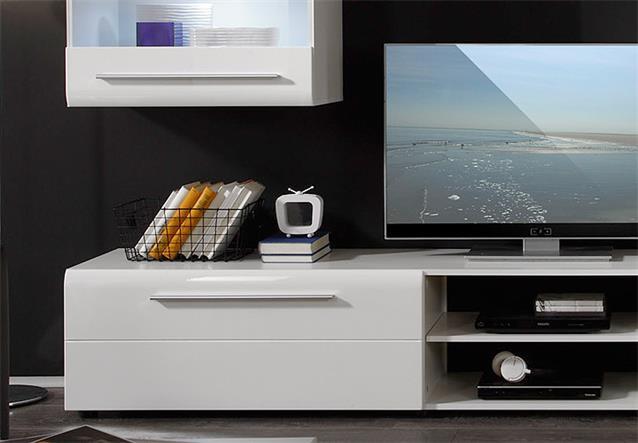 wohnwand day anbauwand medienwand in wei hochglanz tiefzieh inkl beleuchtung ebay. Black Bedroom Furniture Sets. Home Design Ideas