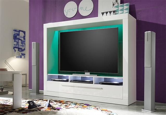 wohnwand 1 medox anbauwand medienwand wohnkombi wohnzimmer in wei hochglanz ebay. Black Bedroom Furniture Sets. Home Design Ideas