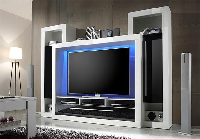 wohnwand 3 medox anbauwand medienwand wohnzimmer in wei schwarz hochglanz ebay. Black Bedroom Furniture Sets. Home Design Ideas
