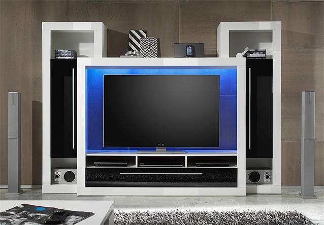 Wohnwand 3 medox anbauwand medienwand wohnzimmer in wei schwarz hochglanz ebay - Medienwand tv ...
