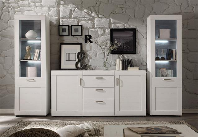stauraumvitrine landlust vitrine schrank in pinie struktur wei und dunkel ebay. Black Bedroom Furniture Sets. Home Design Ideas