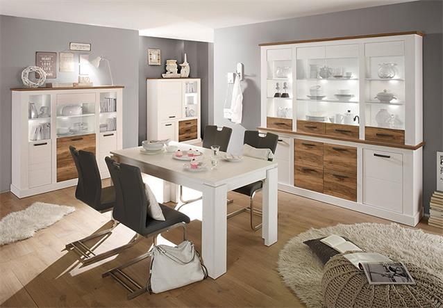 sideboard toronto anrichte kommode anderson pinie hell wei und satin nussbaum ebay. Black Bedroom Furniture Sets. Home Design Ideas