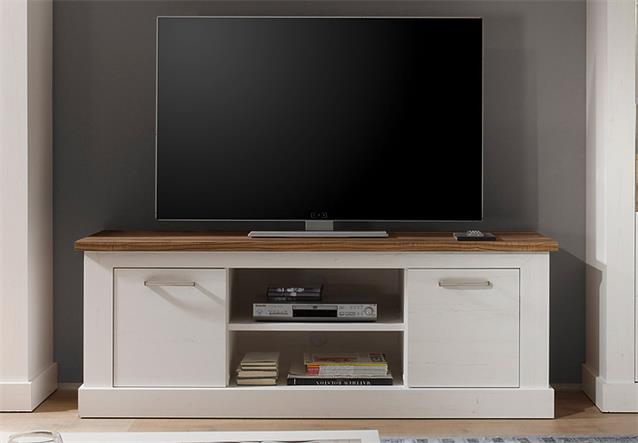 tv board toronto lowboard unterteil anderson pinie hell wei und satin nussbaum ebay. Black Bedroom Furniture Sets. Home Design Ideas