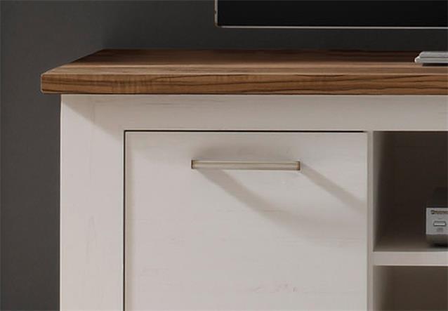tv board toronto lowboard unterteil anderson pinie hell wei und satin nussbaum ebay. Black Bedroom Furniture Sets. Home Design Ideas