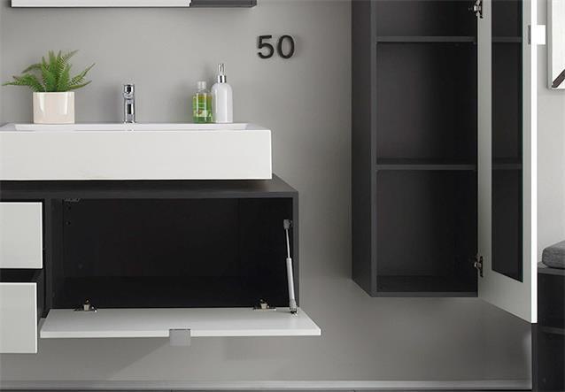 badezimmer set beach badm bel bad in wei hochglanz tiefzieh und grau ebay. Black Bedroom Furniture Sets. Home Design Ideas