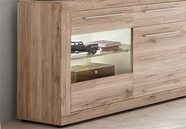 sideboard passat schrank vitrine in eiche sand nachbildung innen wei ebay. Black Bedroom Furniture Sets. Home Design Ideas