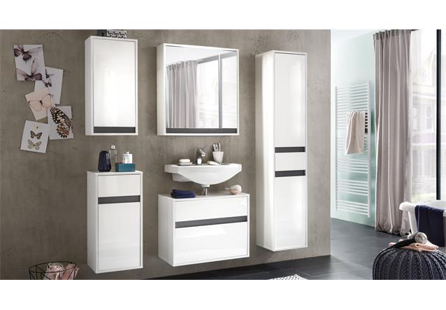 bad kommode sol badschrank h ngeschrank badm bel in wei melamin hochglanz ebay. Black Bedroom Furniture Sets. Home Design Ideas