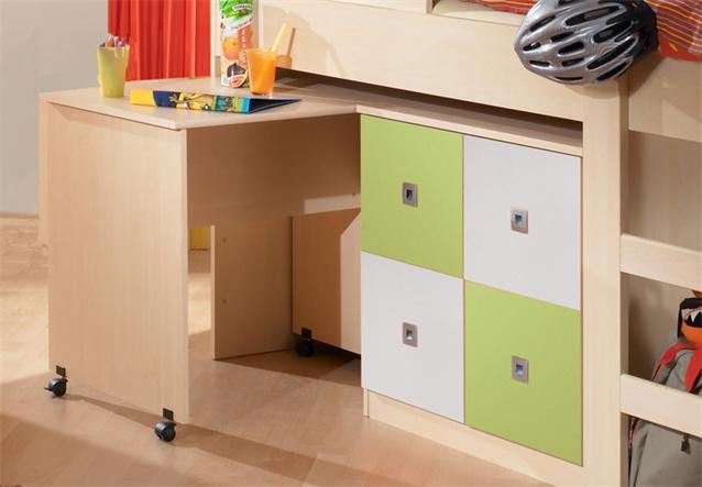hochbett sunny jugendbett in ahorn gr n und wei mit schreibtisch und kommode ebay. Black Bedroom Furniture Sets. Home Design Ideas