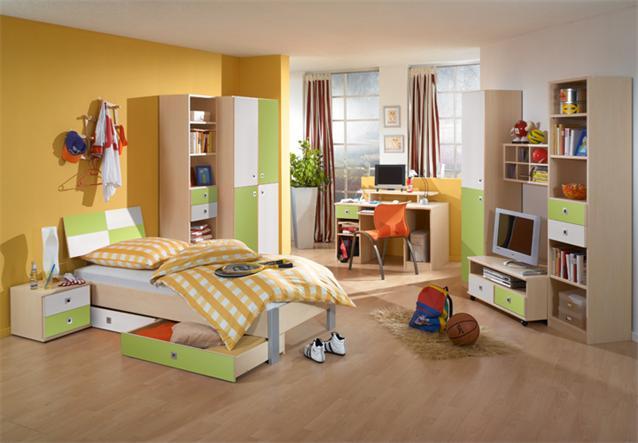 Jugendzimmer sunny set 3 teilig kinderzimmer ahorn gr n for Hochwertige jugendzimmer