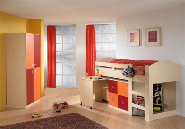 Jugendzimmer sunny set 4 teilig kinderzimmer ahorn rot und - Jugendzimmer set angebote ...
