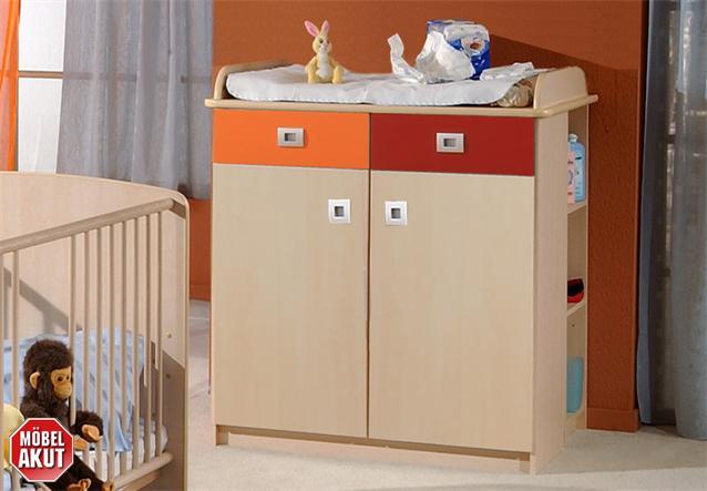 babyzimmer sunny 3 teilig in ahorn orange und rot eckschank babybett und schrank ebay. Black Bedroom Furniture Sets. Home Design Ideas