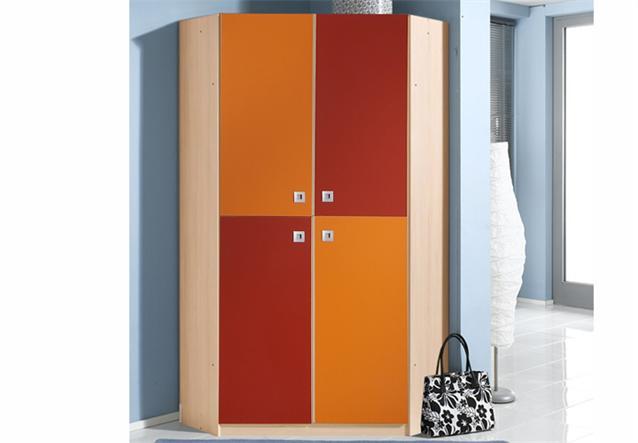 Babyzimmer sunny 3 teilig in ahorn orange und rot eckschank ...