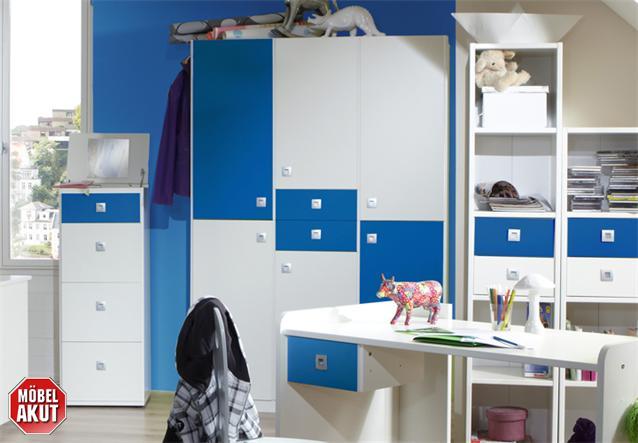 jugendzimmer sunny 4 teilig kinderzimmer in wei und blau. Black Bedroom Furniture Sets. Home Design Ideas